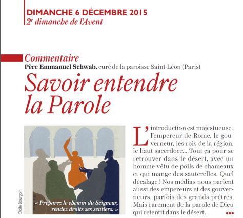 Liturgie 6 décembre 2015 couvert